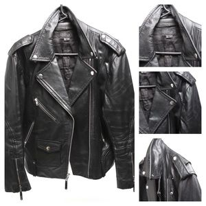 Theory Men's Black Leather Medium Biker Jacket